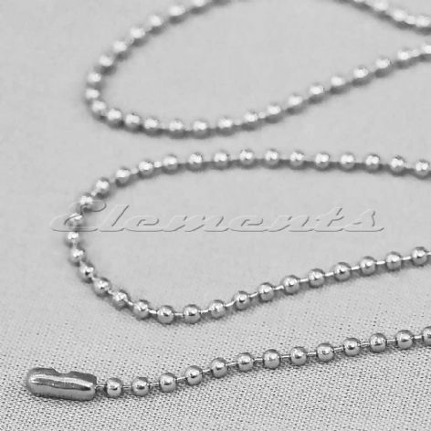 "Silver Tone 2.4mm Bead Ball 27"" Chain & Connector Necklace BM046"
